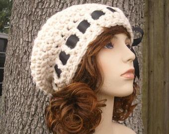 Crochet Hat Cream Womens Hat - Escargot Beret in Cream Crochet Hat - Cream Hat Cream Beret Cream Beanie Womens Accessories