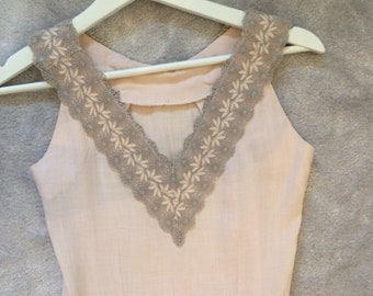 Peach 1950s Wiggle Dress Lace Detail Pencil Dress