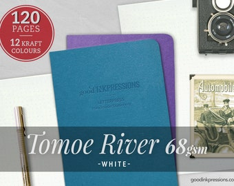 120 Pages- Tomoe River White 68gsm, Midori Inserts - Bullet journal - Notebooks and Planners - Scrapbooking - Fountain Pen - A5, B6, Regular