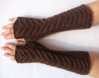 """Fingerless Gloves Brown 9"""" Mittens arm warmers Knit, Soft Acrylic Mohair"""