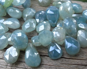 Chalcedony beads Diamond Finish faceted Teardrops Gorgeous!