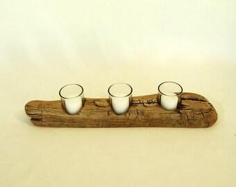 Driftwood Candle Holder, Votive Candle Holders, Driftwood Centerpiece, Driftwood Beach Decor, Wedding Gift Idea, Coffee Table Decor