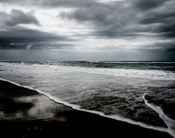 Ocean Waves Photography, Dramatic Beach Nature Decor  - Color Landscape Fine Art Photography Print Large