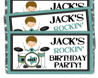 Boys Rock Birthday Candy Wrappers - fit over 1.55 oz chocolate bars, Boys Rock and Roll, Birthday Party Favor, Chocolate Bar Wrappers