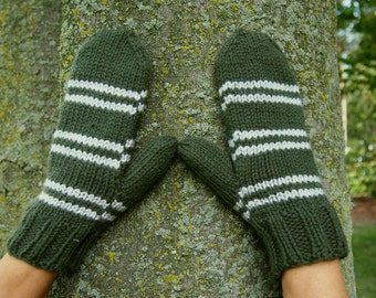 Harry Potter Slytherin Mittens - Green & Silver Grey Stripes Hand Knit Mittens - Harry Potter Inspired Costume Accessory - Slytherin Mittens