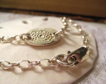 Charm bracelet, sterling silver, PMC, fine silver, handmade bracelet, hand stamped, stamped design, layering bracelet, candies64