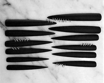 Heavy Metal Nailz, set of 12 super long matte black pierced stiletto nails