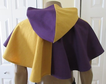 Hooded Cowl Royal Purple and Gold Elven Medieval Woodland Archer