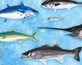 Eat Sleep Fish Fabric / Fishing Fabric Fish on blue / Deep Sea Fishing Fabric / Fabric Robert Kaufman 16202 /  / 1 Yard Cuts