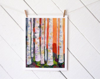 Birch Trees - archival 11 x 14 inch reproduction of oil painting