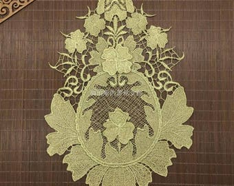 Baroque Gold Embroidery Lace Patch,3D Gold Embroidery Patch
