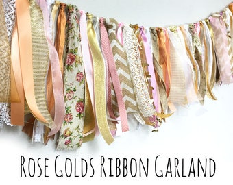 Blush Pink, Rose Gold, Fabric Ribbon Garland Banner, Photo Prop, Party Decoration, Fringe Garland, Bunting, Curtain, Wall Decor, Valance