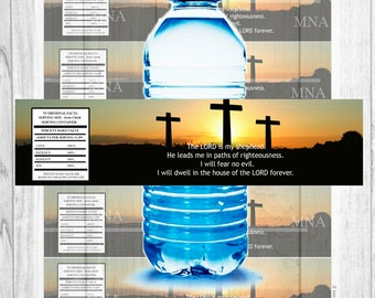 Christianity water bottle labels - psalm 23 water bottle wrappers - christian water bottle wrapper - Instant Download water bottle wrappers