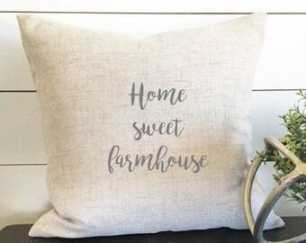 Home Sweet Farmhouse Pillow Cover, 18 x 18 Pillow Cover, Linen Pillow, Housewarming Gift, Gift, Throw Pillow, Wedding Gift, Rustic Decor