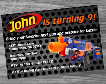 Dart War Birthday Party invite custom made with your child's name and information! Super fast turn around!