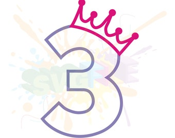 3rd Birthday SVG Files for Cutting Three Cricut Girl Numbers - SVG Files for Silhouette - Instant Download