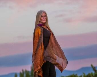 Amber Hand Painted Silk Ruana