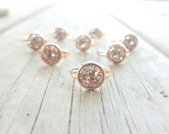 Metallic Rose gold druzy ring