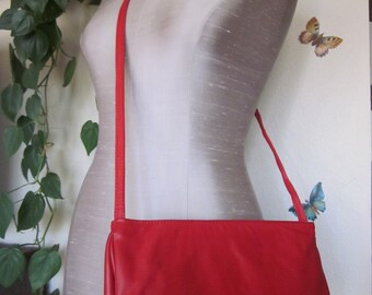 Juliette Red Leather Vintage Crossbody Handbag, Made in UsA