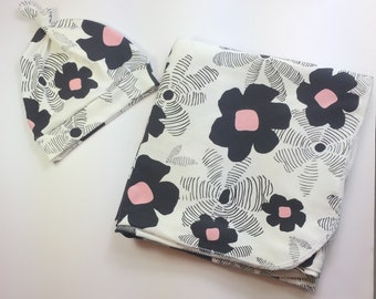 Baby swaddle blanket | Black and Pink Floral newborn swaddle blanket | stroller blanket | stretchy knit swaddle |Girl newborn baby