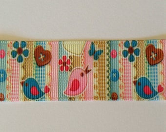 Bird Ribbon - Flower Ribbon - 1 Yard