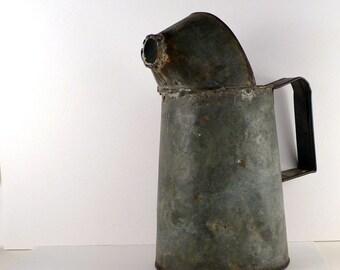 Vintage Galvanized Watering Can / Oil can / Garden / Rustic / Industrial can / grey Vase / watering jug / Bucket / Plant waterer /   6 x 12