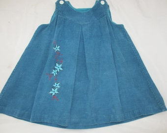 blue corduroy flower dress hand embroidered boho baby handmade homemade romper jumper shoulder buttons short tunic baby girl vintage dress