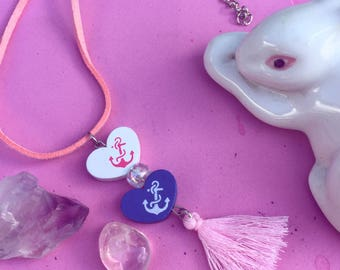 Nautical pastel dream hearts tassel necklace on pink vegan leather cord