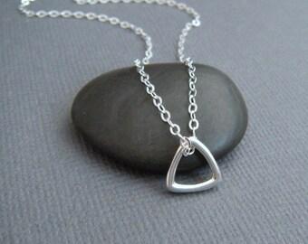 "tiny silver triangle necklace. small silver geometric necklace. sterling silver. everyday necklace. zen jewelry. delicate pendant 3/8"""