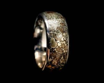 Stegosaurus & Pyrite Wedding Band, Dinosaur Bone Fossil Ring