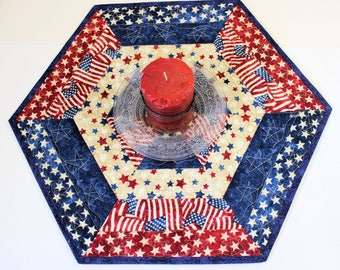 Hexagon Patriotic Table Topper Quilt or Candle Mat, Quilted Red White Blue Country Table Topper, 4th of July Centerpiece, Quiltsy Handmade