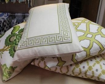 Decorative Greek Key Chinoiserie, Pillow,  Green, Beige, Lumbar Throw Pillow