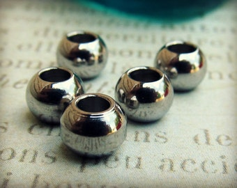6mm Bead, Stainless Steel Large Hole Beads, Set of 10 SST Findings 4.50x6mm  Seamless Beads (002)