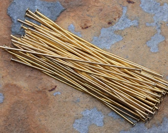 10 Antique Gold 2 inch Head pins -  Nunn Design Headpin