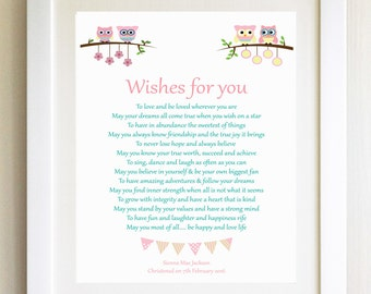 Christening Gift Naming Ceremony New Baby Gift Wishes For You baby child Personalised Poem Children's birthday present gift Baby Shower