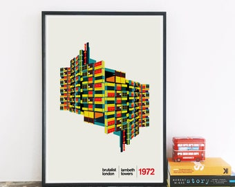 Brutalist London - Lambeth Towers Illustrated Poster, Matte & Giclee Art Prints - Housewarming gifts, Modernist Estate London