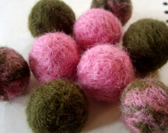 9 Needle Felted Balls - Pink and Muted Olive Green Wool Beads - Felt Ball Beads - Cottage Chic - Fuzzy Round Waldorf Natural Wool Beads