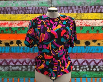 80s/90s silk abstract blouse