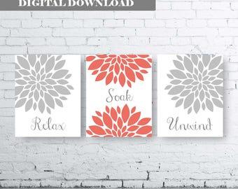 Bathroom Print Art-Relax Soak Unwind- Gray Coral Art- Gray Coral Flower Bathroom. Gray and Coral Floral Wall Art. Gray Coral Bathroom Decor