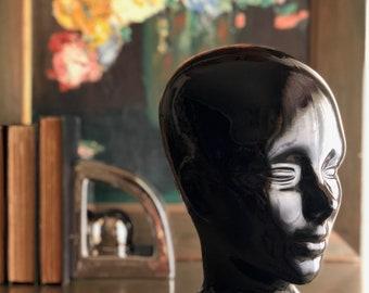 vintage black glass head mannequin Made in Spain sculpture art