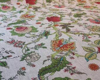 New!!! Pure linen fabric with botanic print