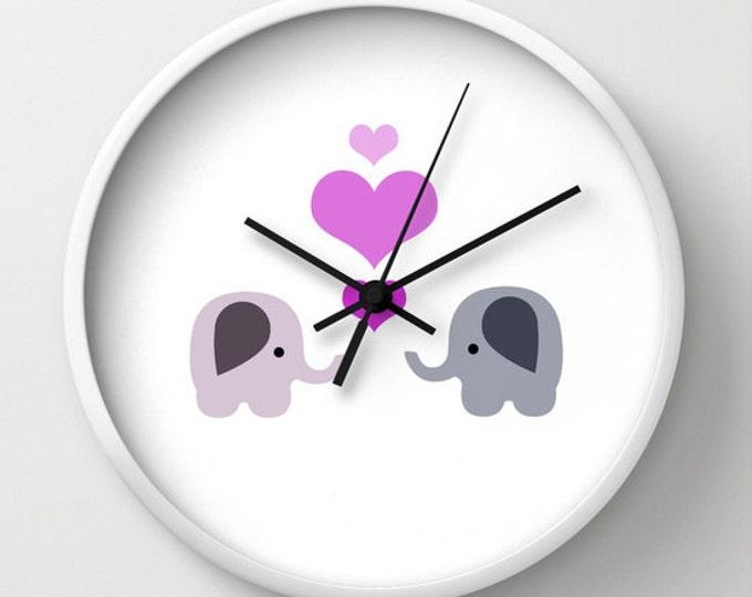 Elephant Love Nursery Clock -  Wall Clock - Elephants with Hearts - Made to Order