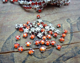 Rhinestone Vintage Sew On Rhinestones Rose Montee 3mm Siam Red  (50)