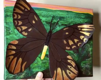 Original Queen Alexandria's Birdwing Butterfly on Palm Oil Field Relief Painting - Mixed Media Art - From the Endangered Species Series