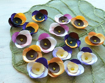 Fabric flower appliques, satin flower embellishment, floral supply, fabric flowers for crafts, silk flowers bulk (16pcs)- ASSORTED PANSIES