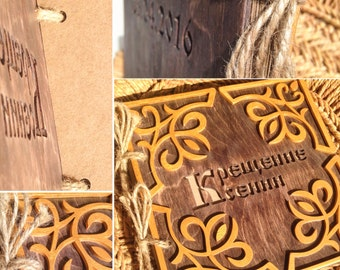 Wooden photo album, personalized photo book, wedding guest book
