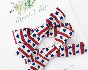 Patriotic Star Pigtail Bows / Girls Hair Bows / Alligator Clip / No Slip Grip / Macie and Me / Pigtail Bows / Hand Tied