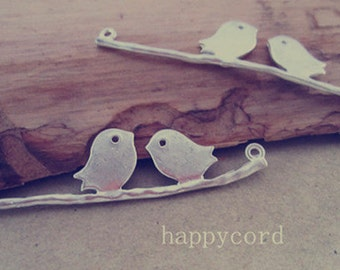 4pcs  silver color (copper) bird Pendant Charms 11mmx44mm