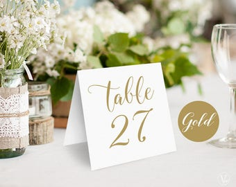 Gold Wedding Table Numbers 1–40 , Tented Table Numbers, Printable Wedding Table Numbers, INSTANT DOWNLOAD, 5x5 Folded, TN04GOLD