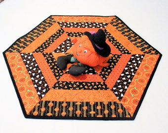 Hexagon Halloween Quilted Table Runner with Bats, Pumpkins, Ghosts, Candy Corn, Spiders, Orange and Black Table Runner Quilted Centerpiece